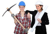 An architect and her mason. — Stock Photo