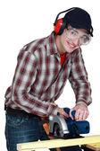 Man using a circular saw — Stock Photo