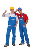 Two craftsmen posing together — Stock Photo