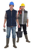 Two constructions workers stood together — Stock Photo