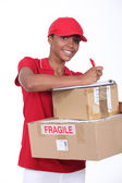 Young woman delivering parcels — Stock Photo
