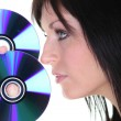 Stock Photo: Brunette womand discs
