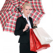 Womwith Scottish umbrella — Stock Photo #10378280