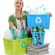 Woman recycling — Stock Photo