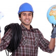 Tradesman getting rich from working abroad - Stok fotoğraf