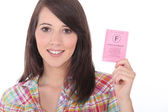 Brunette with a driving license — Stok fotoğraf