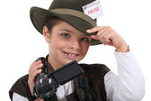 Little boy dressed as reporter — Stock Photo