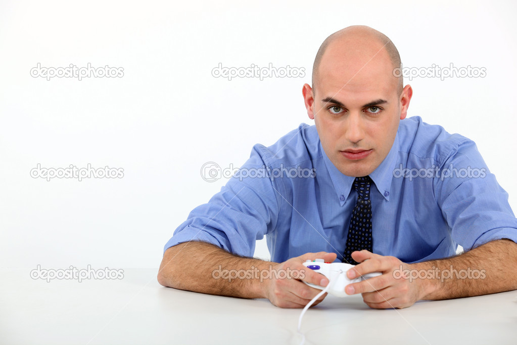 Man playing to video games — Stock Photo #10378893
