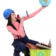 Woman campaigning for more recycling in the world — Stock Photo