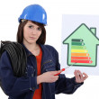 Female electrician holding screwdriver and energy information poster — Stock Photo