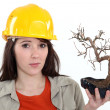 Uncertain tradeswoman holding up a bonsai plant — Stock Photo
