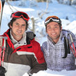 Buddies at ski resort — Stock Photo