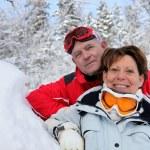Senior couple in the snow — Stock Photo