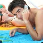 przyjaciele na plaży — Zdjęcie stockowe