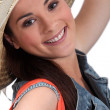 Brunette woman with hat — Stock Photo #10387787