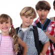 Row of schoolchildren — Stock Photo