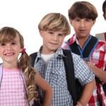 Row of schoolchildren — Stock Photo