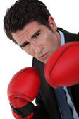 Businessman wearing boxing gloves — Stock Photo