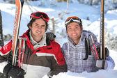 Buddies at ski resort — Stock Photo