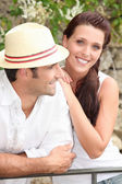 Couple of tourists in summer — Stock Photo