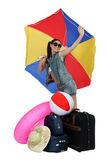 Chica lista para vacaciones en la playa — Foto de Stock