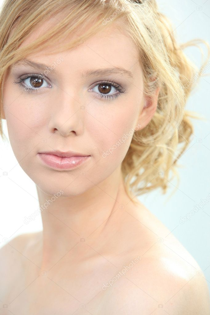 Closeup Of A Fair Haired Young Woman Wearing Makeup But No Clothes. U2014 Stock Photo ...