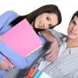 Stock Photo: Cute brunette and male fellow student