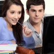 Students working at laptop — Stockfoto #10390695