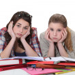 Stock Photo: Young women sick of studying