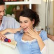 Man giving gift to girlfriend — Stock Photo #10391234