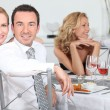 Friends having dinner at home — Stock Photo