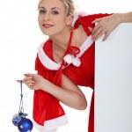 Lady wearing a Christmas costume — Stock Photo