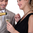Couple drinking champagne — Stock Photo #10392237