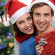 Couple with a Christmas gift — Stock Photo #10392635