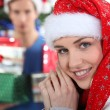 Girl in Santa hat - Foto Stock