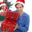 Happy man on Christmas Day — Stockfoto