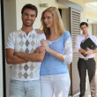 Foto Stock: Couple visiting house for sale