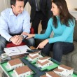 Potential buyers looking at a housing model — Stock Photo #10393051