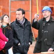 Family visiting construction site — Stock Photo