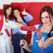 Girls red wall painting — Stock Photo