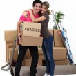 Young couple moving in together - Stockfoto