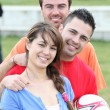 Mixed football team — Stock Photo