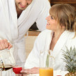 Stock Photo: Couple having breakfast together