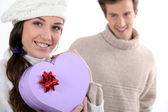 Heart-shaped Gift — Stock Photo