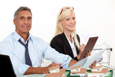 Real estate manager and his assistant — Stock Photo