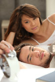 Couple slowly waking up — Stock Photo