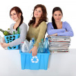 Three girlfriends waste sorting — Stock Photo #10403471