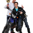 Father and son with a motorbike trophy — Stock Photo