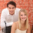 Young couple in restaurant — Foto Stock