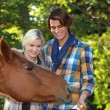 Couple petting horse — Stock Photo